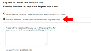 Complete the registration new member fields